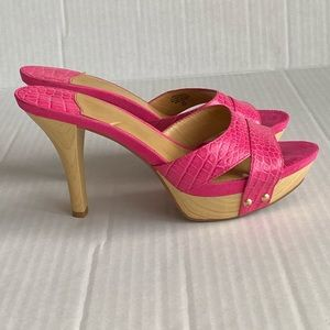 Nine West bright pink Leather heeled mule sandals